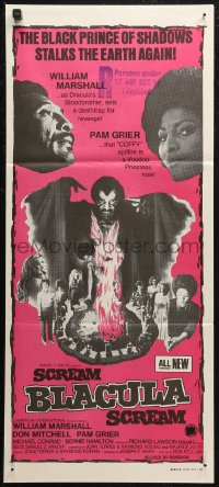 8f0404 SCREAM BLACULA SCREAM Aust daybill 1973 image of black vampire William Marshall & Pam Grier!