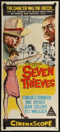 8f0406 SEVEN THIEVES Aust daybill 1959 cool art of Edward G. Robinson, Rod Steiger & sexy Joan Collins!