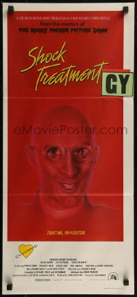 8f0407 SHOCK TREATMENT Aust daybill 1981 Rocky Horror follow-up, great artwork of demented doctor!