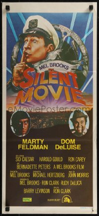 8f0410 SILENT MOVIE Aust daybill 1976 Marty Feldman, Dom DeLuise, art of Mel Brooks by John Alvin!