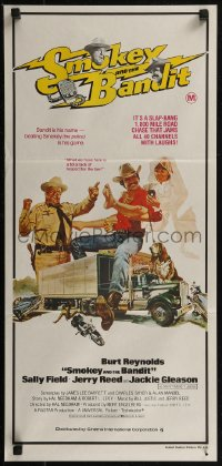 8f0412 SMOKEY & THE BANDIT Aust daybill 1977 Burt Reynolds, Sally Field & Jackie Gleason by Solie!