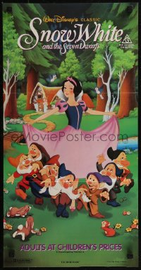 8f0414 SNOW WHITE & THE SEVEN DWARFS Aust daybill R1990s Walt Disney animated cartoon fantasy classic