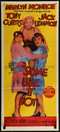 8f0415 SOME LIKE IT HOT Aust daybill 1960s Marilyn Monroe, Tony Curtis & Jack Lemmon!