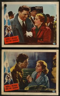 8g1208 KISS THE BLOOD OFF MY HANDS 2 LCs 1948 cool images of fugitive Burt Lancaster & Joan Fontaine!