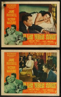 8g1210 LAS VEGAS STORY 2 LCs 1952 sexiest Jane Russell, Victor Mature & Hoagy, gambling!