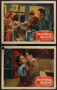 8g1211 LEATHER GLOVES 2 LCs 1948 boxer Cameron Mitchell, sexy Virginia Grey, Blake Edwards!