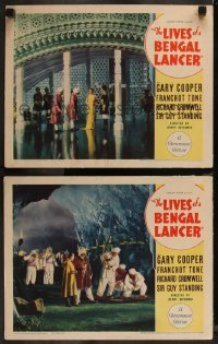 8g1214 LIVES OF A BENGAL LANCER 2 LCs 1935 Henry Hathaway, great images of cast on elaborate sets!