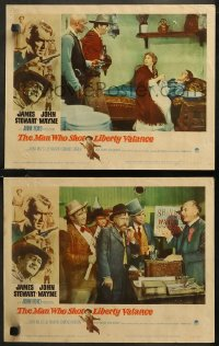 8g1218 MAN WHO SHOT LIBERTY VALANCE 2 LCs 1962 Wayne, Strode, Miles, Stewart, Devine, O'Brien, Murray!