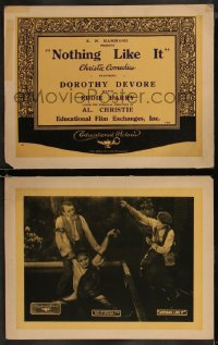 8g1227 NOTHING LIKE IT 2 LCs 1921 great images of Dorothy Devore, Eddie Barry, ultra rare!