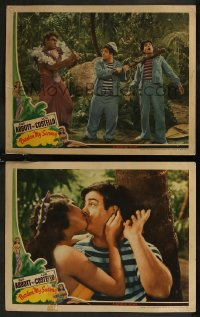 8g1231 PARDON MY SARONG 2 LCs 1942 sexy island girl Nan Wynn kissing Lou Costello, duo in the jungle!