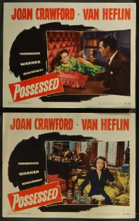 8g1233 POSSESSED 2 LCs 1947 great images of Joan Crawford with Van Johnson & Raymond Massey!