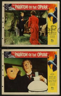 8g1014 PHANTOM OF THE OPERA 4 LCs 1962 Hammer horror, Herbert Lom as Gaston Leroux's disfigured man!