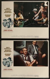 8g1023 STING 4 LCs 1974 con men Paul Newman & Robert Redford, Robert Shaw, Amsel border art!