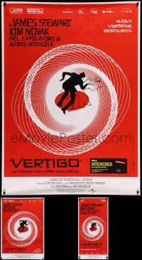 8h0434 LOT OF 3 UNFOLDED VERTIGO R19 ITALIAN POSTERS R2019 Hitchcock, classic Saul Bass spiral art!