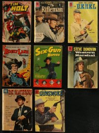8h0243 LOT OF 8 COWBOY WESTERN COMIC BOOKS 1950s-1960s Tim Holt, Rifleman, Gunsmoke & more!