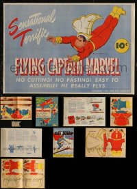 8h0205 LOT OF 3 CAPTAIN MARVEL FAMILY PREMIUMS 1940s rare paper toys that were never used!