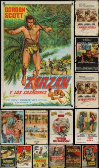 8h0423 LOT OF 17 FOLDED ARGENTINEAN POSTERS 1950s-1970s great images from a variety of movies!