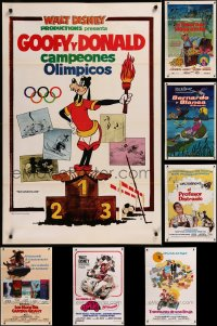 8h0571 LOT OF 9 FORMERLY TRI-FOLDED WALT DISNEY SPANISH LANGUAGE ONE-SHEETS 1970s cool!
