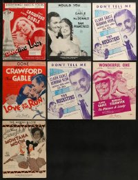 8h0221 LOT OF 7 JOAN CRAWFORD AND CLARK GABLE SHEET MUSIC 1930s-1950s a variety of different songs!