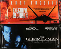 8h0433 LOT OF 2 VINYL BANNERS 1996 Kurt Russell in Executive Decision, Steven Seagal in Glimmer Man!