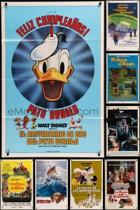 8h0570 LOT OF 11 FORMERLY TRI-FOLDED WALT DISNEY SPANISH LANGUAGE ONE-SHEETS 1970s-1980s cool!