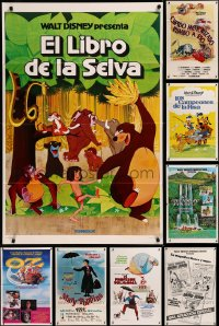 8h0569 LOT OF 12 FORMERLY TRI-FOLDED WALT DISNEY SPANISH LANGUAGE ONE-SHEETS 1970s-1980s cool!