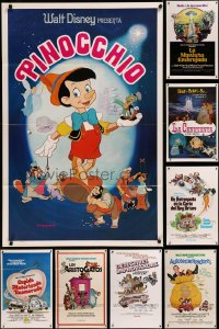 8h0567 LOT OF 13 FORMERLY TRI-FOLDED WALT DISNEY SPANISH LANGUAGE ONE-SHEETS 1970s cool images!