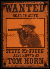 8j0016 TOM HORN Aust special poster 1980 see cowboy Steve McQueen in the title role before he sees you!