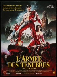 8j0056 ARMY OF DARKNESS French 16x21 1992 Sam Raimi, great art of Bruce Campbell w/chainsaw hand!