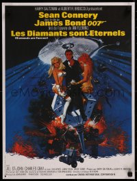 8j0067 DIAMONDS ARE FOREVER French 17x22 R1980s Sean Connery as James Bond 007 by Robert McGinnis!