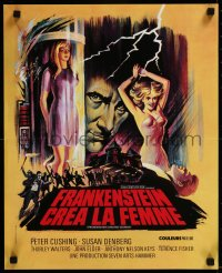 8j0075 FRANKENSTEIN CREATED WOMAN French 17x21 1967 cool art of Peter Cushing & sexy Susan Denberg!