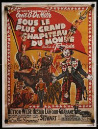 8j0078 GREATEST SHOW ON EARTH French 16x21 R1970s Cecil B. DeMille circus classic, great Soubie art!
