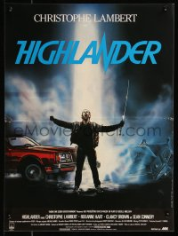 8j0080 HIGHLANDER French 16x22 1986 different Rombi art of immortal Christopher Lambert with sword!