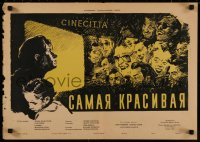 8j0022 BELLISSIMA Russian 17x24 1956 Visconti, Kovalenko art of Magnani, daughter, laughing people!