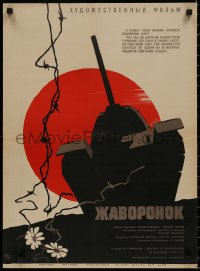 8j0052 ZHAVORONOK Russian 19x26 1965 Samodeyanko art of tank, barbed wire, flowers & red sun!