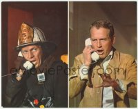 8k1245 TOWERING INFERNO color 11x14 still 1974 split image of Steve McQueen & Paul Newman w/ phones!