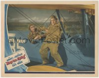 8k1017 KEEP 'EM FLYING LC 1941 great image of Bud Abbott steadying Lou Costello on bi-plane wing!