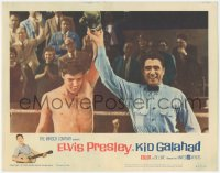 8k1020 KID GALAHAD LC #8 1962 great close up of Elvis Presley declared the winner in boxing match!