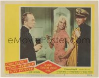 8k1029 KISS THEM FOR ME LC #8 1957 sexy Jayne Mansfield between uniformed Cary Grant & Ray Walston!
