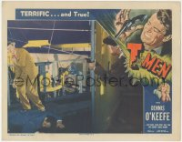 8k1210 T-MEN LC #6 1947 Anthony Mann, injured Treasury agent Dennis O'Keefe in shootout w/ bad guy!