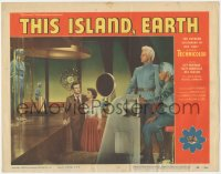 8k1226 THIS ISLAND EARTH LC #6 1955 Rex Reason & Faith Domergue on spaceship with alien Jeff Morrow!