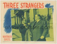 8k1228 THREE STRANGERS LC 1946 Peter Lorre tries to stop big Sydney Greenstreet on his own!