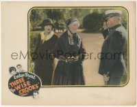 8k1230 THREE WISE CROOKS LC 1925 thief Evelyn Brent hiding behind Fanny Midgley talking to cop!