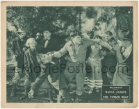 8k1236 TIMBER WOLF LC 1925 great close up of cowboy hero Buck Jones fighting two guys at once!