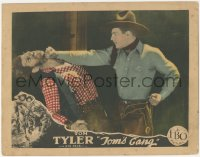 8k1239 TOM'S GANG LC 1927 great close up of Tom Tyler punching bad guy in the face!