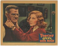 8k1243 TORCHY GETS HER MAN LC 1938 c/u of reporter Glenda Farrell examining wounded Tom Kennedy!