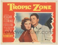8k1248 TROPIC ZONE LC #1 1953 great close up of Ronald Reagan holding sexy Rhonda Fleming!