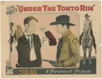 8k1258 UNDER THE TONTO RIM LC 1928 great close up of Richard Arlen holding bad guy at gunpoint!