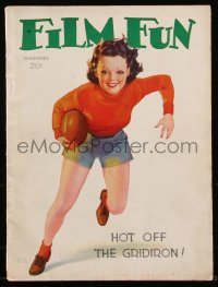 8m0492 FILM FUN magazine Nov 1938 sexy football cover art by Albert Fisher, hot off the gridiron!