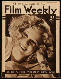 8m0493 FILM WEEKLY English magazine April 4, 1936 cover portrait of sexy Jean Harlow in Riffraff!